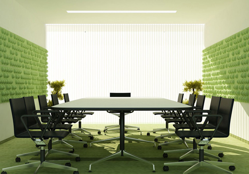 Soundtect eco-friendly acoustic panels in office meeting room