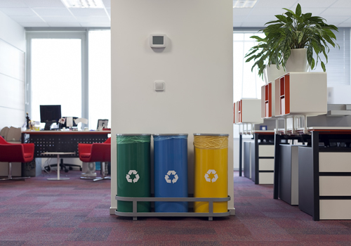 Recycling waste bins in the office